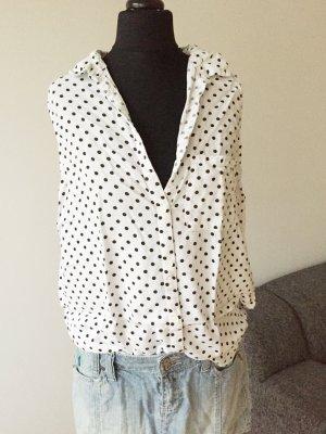 Ärmellose Bluse, H&M, S/36, schwarz/weiß mit Punkten