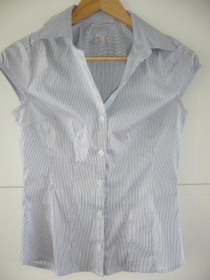 Ärmellose Bluse hellgraue Längsstreifen 33 % Baumwolle H&M XS 34