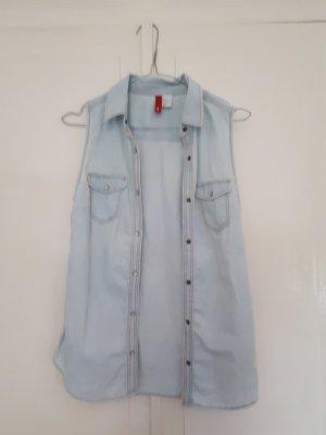 Ärmellose Bluse in Jeansoptik