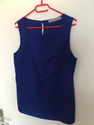 Ärmellose Bluse in kräftigem blau