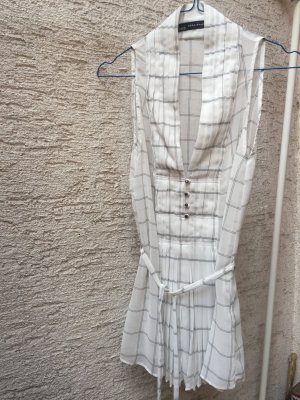 Ärmellose Bluse in Weiß mit schwarzen Streifen von Zara