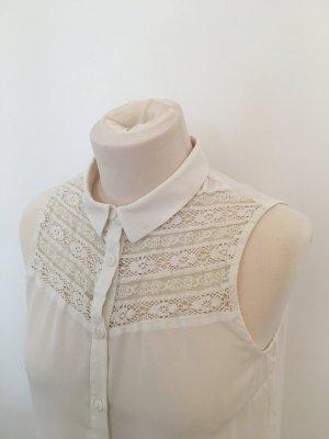 ärmellose Bluse in weiß mit Spitze