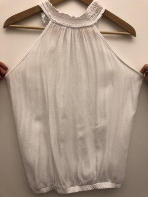 Ärmellose Bluse in weiß mit Stehkragen
