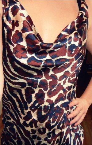 Ärmellose Bluse mit Animal-Print Muster in tollen Farben - Leo-Look Glanzbluse