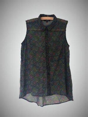 ärmellose Bluse mit Dreiecken transparent 36 geometrisch