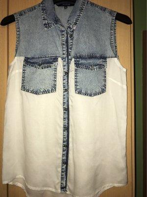 Ärmellose Bluse mit Jeansstoff