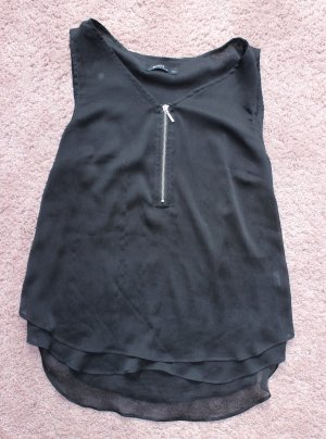 Bershka Sleeveless Blouse black-silver-colored