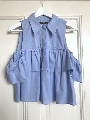 Ärmellose Bluse mit Rüschen von Zara / Hellblau