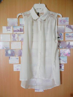 Ärmellose Bluse mit Spitze, weiß