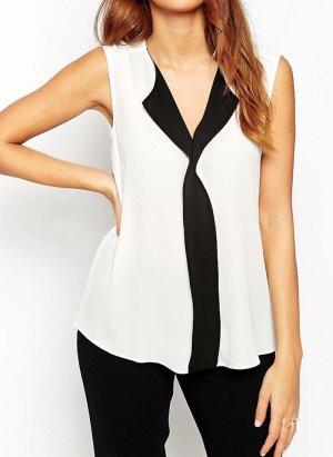 Ärmellose #Bluse mit tiefem V-Ausschnitt und Farbblockdesign #asos