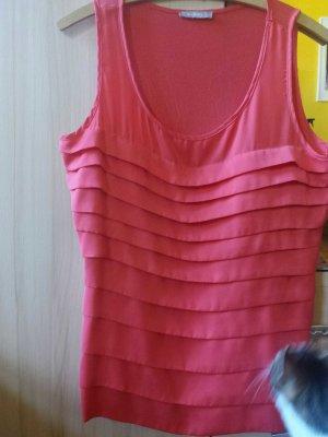 Ärmellose Bluse, pink, mit Raffung