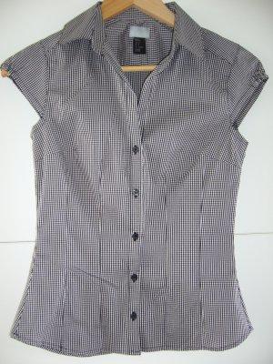 Ärmellose Bluse schwarz/grau/weiß kariert H&M 70 % Baumwolle XS 34