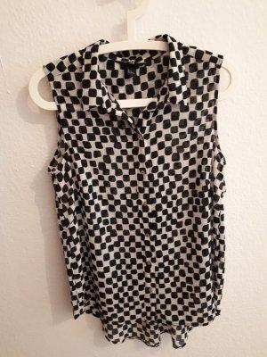 Ärmellose Bluse schwarz/weiß