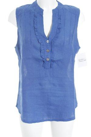 ärmellose Bluse stahlblau schlichter Stil