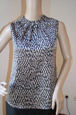 Ärmellose Bluse von Comma Gr. 34 in schwarz-beige gemustert