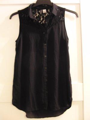 Ärmellose Bluse von H&M, schwarz, mit Spitze, Gr. 34 (36)