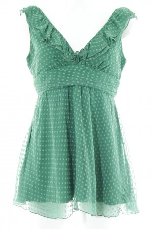 ärmellose Bluse waldgrün Punktemuster Romantik-Look