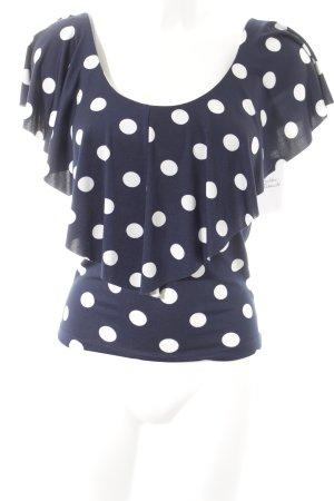 ärmellose Bluse weiß-dunkelblau Punktemuster Casual-Look
