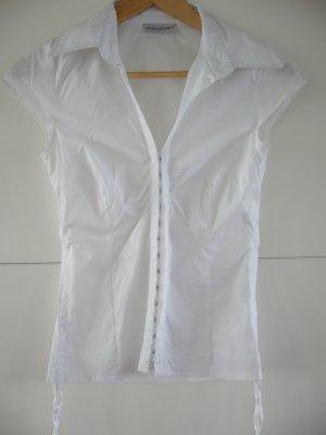 Ärmellose Bluse weiß mit Häckchenverschluss, Seitenraffung Clockhouse XS 34