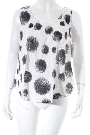 ärmellose Bluse weiß-schwarz abstraktes Muster