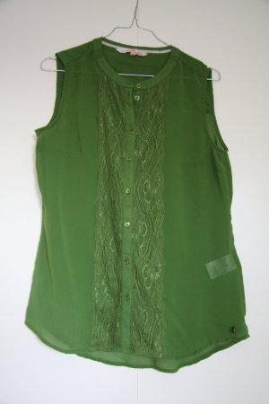 Ärmellose grüne Bluse mit Spitze transparent Gr. S