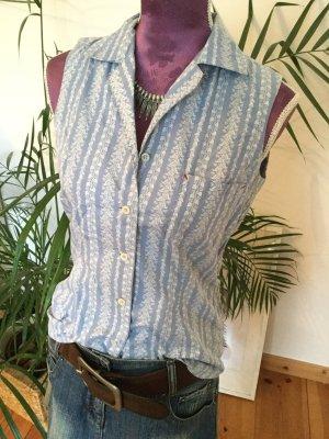 Esprit Mouwloze blouse lichtblauw-wit Katoen