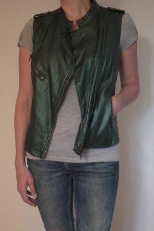 Ärmellose Jacke, metallic grün