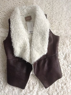 Orsay Leather Vest dark brown-natural white