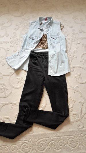 Ärmellose Jeansbluse