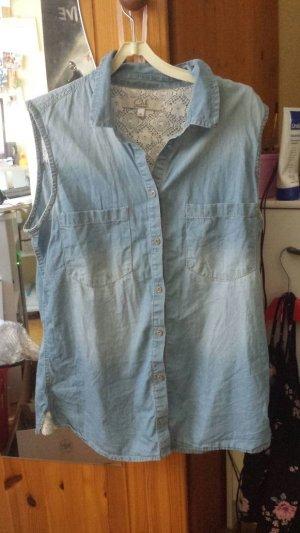 Ärmellose Jeansbluse Größe 38 mit Spitzendetails