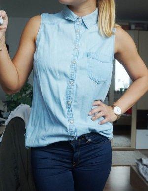 ärmellose Jeansbluse hellblau