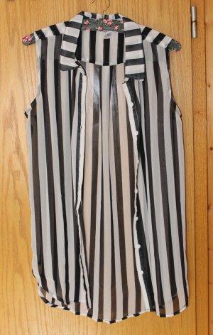 Ärmellose schwarz-weiß gestreifte Bluse, Gr. 38 - wie NEU