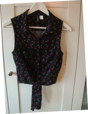 Ärmellose schwarze Bluse mit Kirschen, Gr. 36
