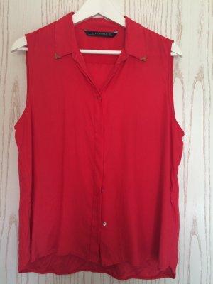 Zara Blusa de manga corta rojo