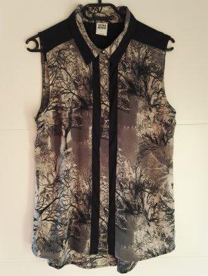 ärmellose Sommer Bluse Top in schwarz-grau / SALE - super Preis!