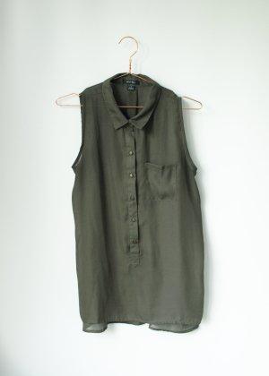 Ärmellose Tunika Bluse in Khaki Grün mit Knopfleiste Amisu S Semitransparent