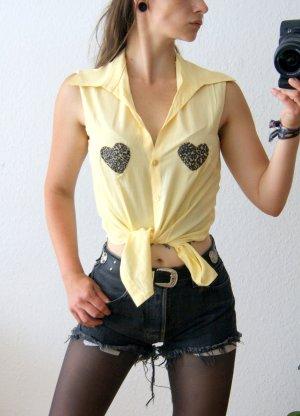 Ärmellose vintage Bluse zitronengelb, gelbe Bluse Herz-Patches Fake Fur, blogger