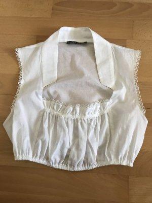 Ärmellose weiße Dirndlbluse von Svenja Jander aus 100% Baumwolle in der Gr. 36