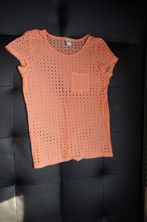 Ärmelloser Pullover, lockeres Strickshirt, , Oversized, Häkelshirt in Apricot