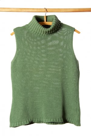 Benetton Turtleneck Sweater lime-green cotton