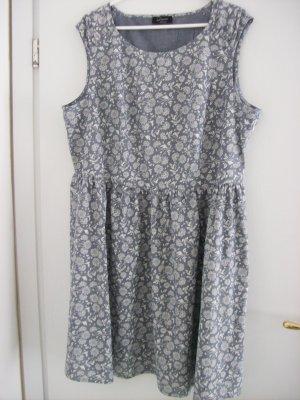 ärmelloses Kleid grau mit cremefarbenen Blümchen