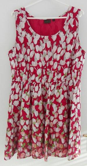 ärmelloses Kleid rot mit Blumendruck