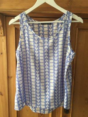 Ärmelloses Shirt mit blau-weissem Muster, Gr. 40