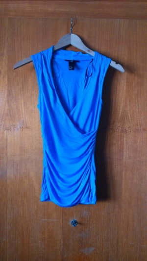 H&M V-Neck Shirt azure viscose