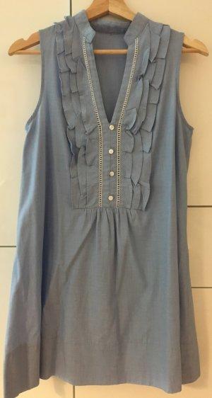Ärmelloses Tunikakleid/-bluse, Gr. 36. hellblau, Baumwolle