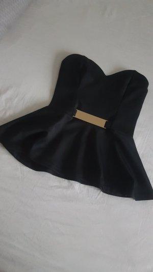 Ann Christine Top peplum negro-color oro