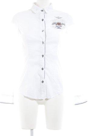 Aeronautica Militare Camisa de manga larga blanco-azul oscuro look casual