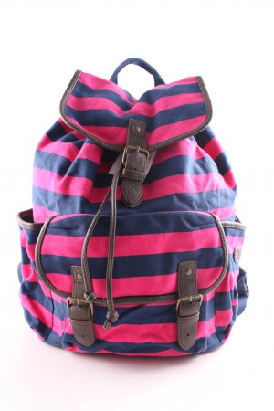 Aeropostale School Backpack blue-pink striped pattern casual look