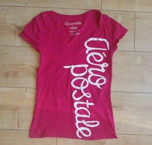 Aeropostale Shirt Pink V-Ausschnitt Weißes Logo Miami Beach Sommer Strand S/M 36/38 Slim Fit