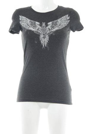 Aeropostale T-Shirt dunkelgrau-weiß meliert Ethno-Look